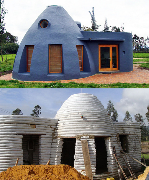 The earth-bag house takes 6 weeks to build and costs $5000 to make. It is healthy and environmental friendly to live. Once painted, the earthbag structure appears like a modern home, providing a sustainable solution for housing that can be customized with sleek interior! ;)