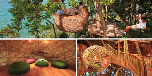 Soneva Kiri an Eco-Friendly Resort and fun Bamboo restaurant on the three - Treetop Dining Pod. An excellent organic meal delivered to you via a zip-line acrobatics of your personal waiter :) .